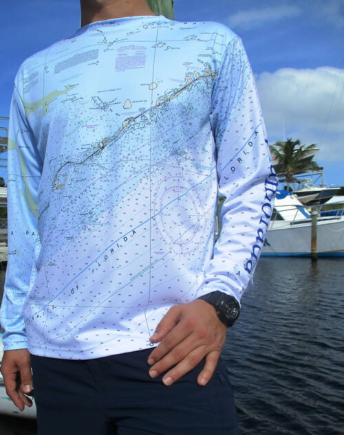 Men's Cool Dry Shirt (Florida Keys Blue Nautical Chart)